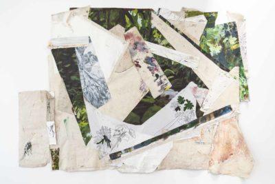 Selva interrumpida con mico - 2020 - Collage de oleo sobre tela_ impresion digital sobre tela y bordado sobre tela - 97x300cm
