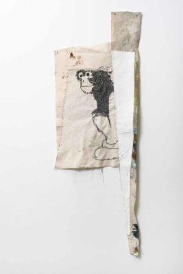 Mico sentado - 2020 - Collage de oleo sobre lienzo y bordado sobre lienzo - 95x34cm