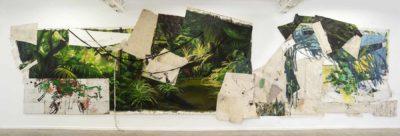 Selva larga interrumpida - 2020 - Collage de oleo sobre tela bordado sobre tela oleo y esmalte sobre carton y caucho - 258x860cm