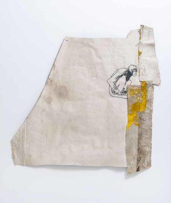 Mico sentado - 2020 - Collage de oleo sobre tela y bordado sobre tela - 90x93cm