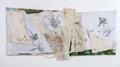 Gallinas - 2018 - Collage de oleo sobre tela y bordado sobre tela - 106x231cm