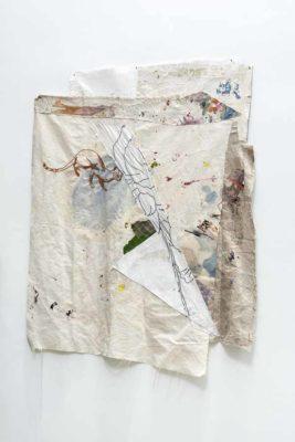 Sudliche Tigerkatze - 2020 - Collage de oleo sobre tela y bordado sobre tela - 110x92cm