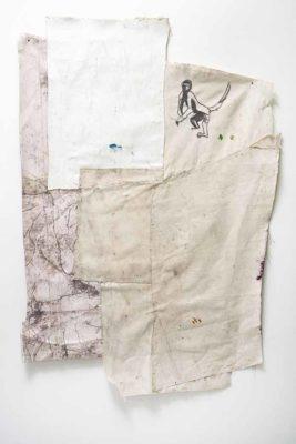 Mico de pie - 2020 - Collage de oleo sobre tela impresion digital sobre tela y bordado sobre tela - 91x68cm