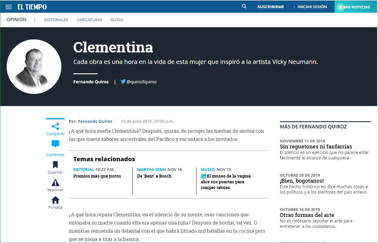 Clementina: Cada obra es una hora en la vida de esta mujer que inspiró a la artista Vicky Neumann - Por Fernando Quiroz