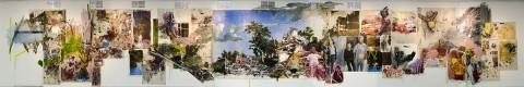 Obra Vicky Neumann, Univesidad Nacional de Colombia. Tamaño: 28.50 x 4.50 mts. Acrílico y oleo sobre tela , collage y mugre