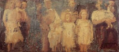 Vicky Neumann, 1996, Retrato De Grupo, Oleo Y Encaustica Sobre Lienzo, 47x102cm
