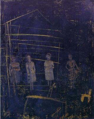 Vicky Neumann, 1997, Cuatro Figuras, Oleo Y Encaustica Sobre Lienzo, 100x80cm