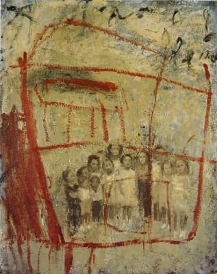 Vicky Neumann, 1997, Grupo De Ninos Y Casa, Oleo Y Encaustica Sobre Lienzo, 100x80cm