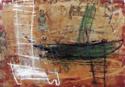Vicky Neumann, 1998, Barca Verde, Oleo Y Encaustica Sobre Lienzo, 116x81cm