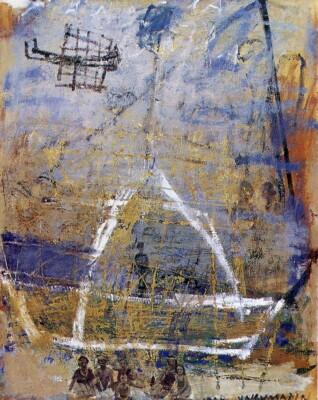 Vicky Neumann, 1998, Carmen Dolores Y Avioncito De Guerra, Oleo Y Encaustica Sobre Lienzo, 163x130cm