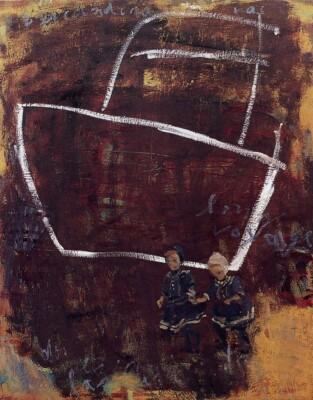 Vicky Neumann, 1998, Dos Ninas Escandinavas, Oleo Y Encaustica Sobre Lienzo, 100x80cm