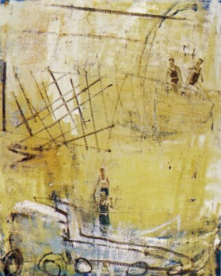 Vicky Neumann, 1998, Felicia Ana Rosa Y Los Muchachos, Oleo Y Encaustica Sobre Lienzo, 165x150cm