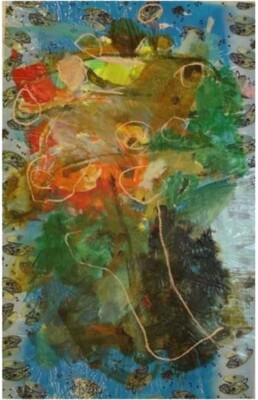 Vicky Neumann, 2008-Bouquete-Sobre-Mantel-De-Tazas-Pintura-Mixta-Sobre-Mantel-de-Plastico-207x140cm
