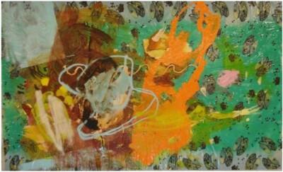 Vicky Neumann, 2008-Cafe-Con-Torticas-Pintura-Mixta-Sobre-Mantel-de-Plastico-138x224cm