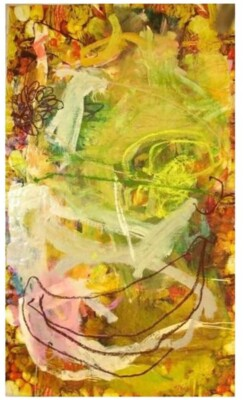 Vicky Neumann, 2008-Comida-Criolla-Pintura-Mixta-Sobre-Mantel-de-Plastico-138-x224cm