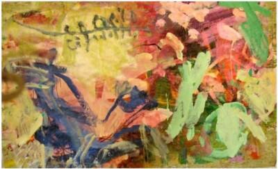 Vicky Neumann, 2008-Pato-Volando-Pintura-Mixta-Sobre-Mantel-de-Plastico-207x140cm