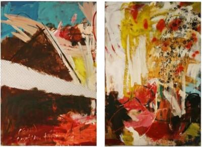 Vicky Neumann, 2008-Supreme-Con-Dobre-Salsa-Y-Pepitas-Acidas-Diptico-Tecnica-Mixta-y-Collage-Sobre-Lienzo-163x130cm