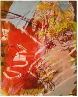 Vicky Neumann, 2008-Vestidito-Rosa-y-Pivoines-Tecnica-Mixta-y-Collage-Sobre-Lienzo-162x130cm
