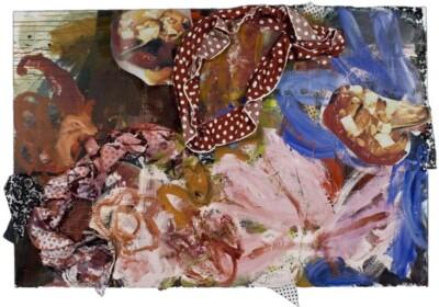 Vicky Neumann, 2009-Faldita-Y-Pimentones-Tecnica-Mixta-y-Collage-Sobre-Lienzo-130x193cm