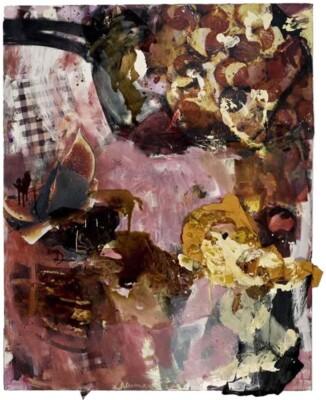 Vicky Neumann, 2009-Higos-Calientes-Con-Crema-y-Naranja-Tecnica-Mixta-Y-Collage-Sobre-Lienzo-130x193cm