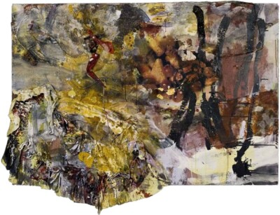 Vicky Neumann, 2009-Tajine-De-Pollo-Con-Faldita-Tecnica-Mixta-y-Collage-Sobre-Tela--130x169cm