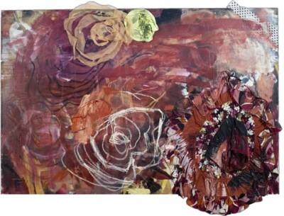 Vicky Neumann, 2009-Todas-Las-Vueltas-Que-No-Di-o-Faldita-de-Flores-Tecnica-Mixta-y-Collage-Sobre-Lienzo-130x193cm