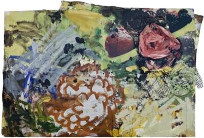 Vicky Neumann, 2009-Variado-De-Frutas-Rojas-Con-Flores-Y-Pepitas-Tecnica-Mixta-Y-Collage-Sobre-Lienzo-130x193cm