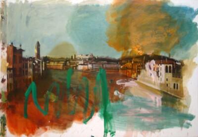 Vicky Neumann, 2010, Manchas De Acite Sobre El Gran Canal, Acrilico Y Oleo Sobre Tela, 203x140cm