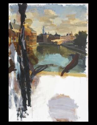 Vicky Neumann, 2010, Manchas Medio Contenidas Sobre Amsterdam, Acrilico  Sobre Tela, 195x130cm