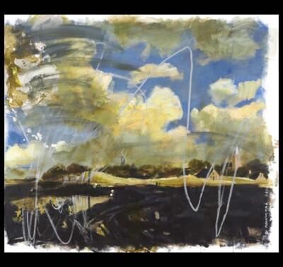 Vicky Neumann, 2010, Paisaje Holandes Con Rayones, Acrilico y Oleo Sobre Tela, 135x155cm