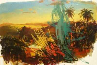 Vicky Neumann, 2010, Paisaje Idilico, Acrilico Y Oleo Sobre Tela, 192x130cm