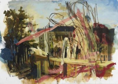 Vicky Neumann, 2010, Pequenos Desastres Sobre Amsterdam, Oleo y Acrilico Sobre Tela, 120x170cm