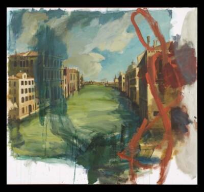 Vicky Neumann, 2010, Venecia Con Manchay Garabato Naranja, Acrilico y Oleo Sobre Tela, 150x164cm