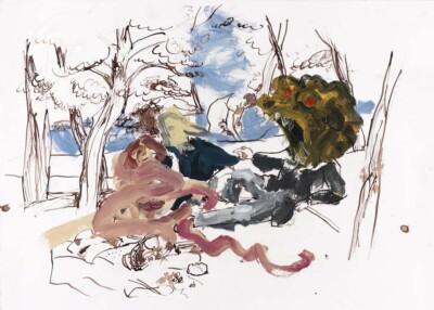 Vicky Neumann, 2011, Conversacion , Tinta Y Oleo Sobre Papel, 50x70cm