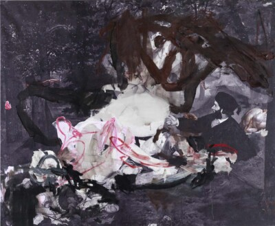 Vicky Neumann, 2011, Picnic Con Monstruo, Impresion Digital Y Oleo Sobre Lienzo, 130x160cm