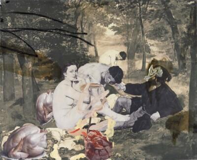 Vicky Neumann, 2011 Picnic Con Pollos, Impresion Digital Y Oleo Sobre Lienzo, 130x160cm