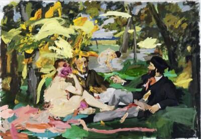 Vicky Neumann, 2011, Picnic Con Tripas Rosadas, Acrilico Sobre Tela, 138x200cm