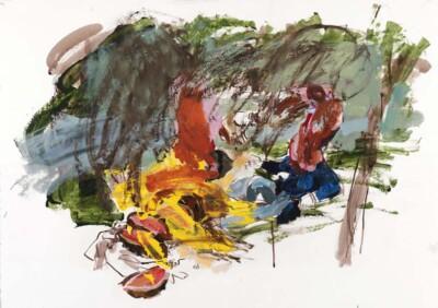 Vicky Neumann, 2011, Picnic con Roast Beef, Oleo Y Tinta Sobre Papel, 50x70cm