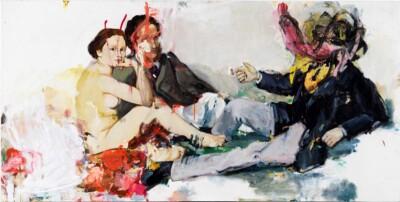 Vicky Neumann, 2011 Trio con Lobo, Oleo Sobre Lienzo, 100x200cm