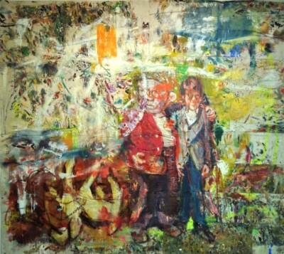 VN-2012-Dos-Amigos-Oleo-en-Patchwork-Tela-Reciclada-250x250cm