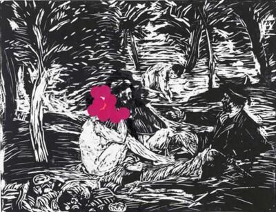 VN-2012-Ella-Con-Stickers-Linoleo-y-stickers-sobre-papel-50x68cm