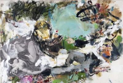 Vicky Neumann, 2012, Picnic Con Ella En El Suelo, Collage y Oleo Sobre Tela, 130x192cm