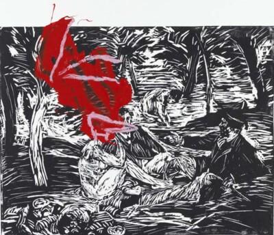 Vicky Neumann, 2012, Picnic Con Pajarraco, Linoleo Y Pintura Sobre Papel, 68x50cm