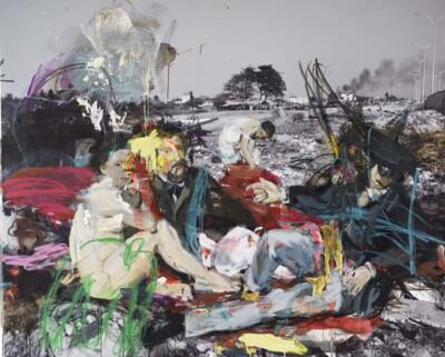 Vicky Neumann, 2012, Picnic Del Caño, Oleo Sobre Impresion Digital, 130x160cm