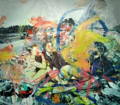 Vicky Neumann, 2012, Picnic Del Caño 2, Oleo sobre Lona Plastica, 250x250cm