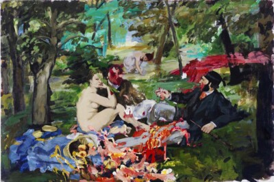 Vicky Neumann, 2012, Picnic Fast Food, Acrilico Y Oleo Sobre Lienzo, 130x195cm