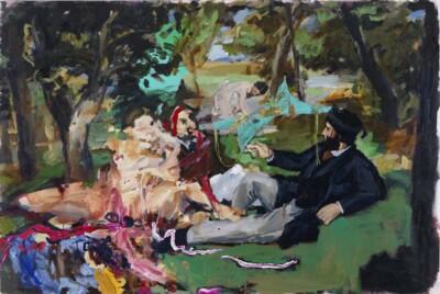 Vicky Neumann, 2012, Picnic Fetard, Acrilico Y Collage, 130x195cm