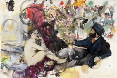 Vicky Neumann, 2012, Picnic con Oruga, Oleo Y Collage Sobre Lienzo, 130x-195cm