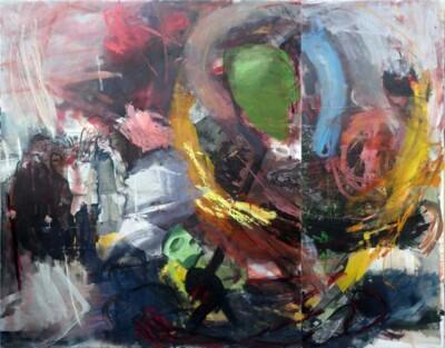 Vicky Neumann, 2014, Grupo de niños, Collage y óleo sobre tela, 200x254cm