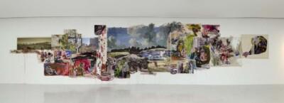 Vicky Neumann, 2015, Obra izquierda, Acrílico y óleo sobre lona, collage. 1890x400cm.